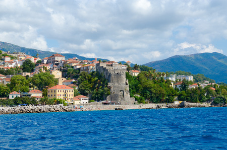 Beautiful view of resort town of Herceg Novi and fortress of Forte Mare from sea, Montenegro