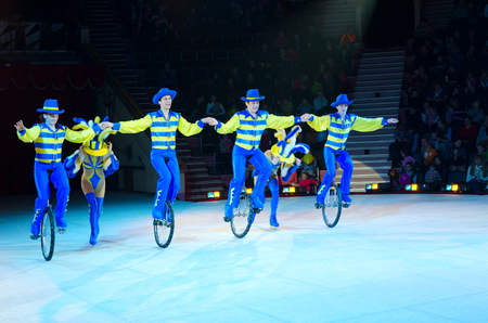 GOMEL, BELARUS - APRIL 10, 2015: Moscow circus on ice on tour.