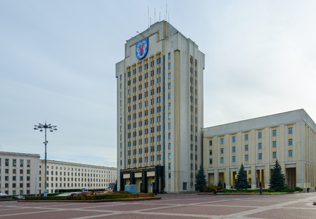 MINSK, BELARUS - OCTOBER 1, 2016: Unknown people walk along Independence Square near Belorussian State Pedagogical University named after Maxim Tank