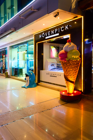 SHARM EL SHEIKH, EGYPT - MAY 13, 2018: Ice cream parlor Movenpick in popular shopping and entertainment complex Soho Square, evening view