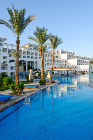 SHARM EL SHEIKH, EGYPT - MAY 14, 2018: Hotel Siva Sharm (ex Savita Resort) 5 * in Sharks Bay. Main building and pool bar