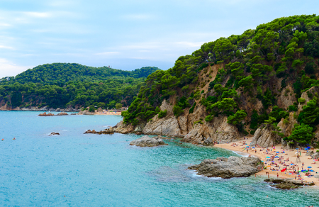Beautiful view of beaches of Sa Boadella and Santa Cristina in Lloret de Mar, Costa Brava, Catalonia, Spain