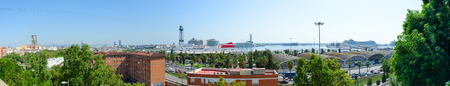 Panoramic top view of Barcelona (district of port), Spain Editorial