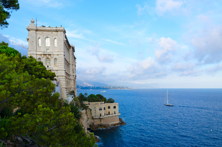 Beautiful view of Cousteau Oceanographic Museum on cliff above sea, Monaco-Ville, Principality of Monaco Editorial