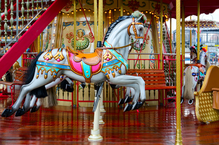 BERLIN, GERMANY - SEPTEMBER 5, 2018: Bright carousel on street in center of Berlin, Germany
