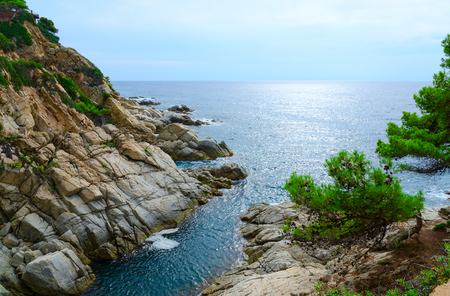 Beautiful view of rocky coast and sea, Costa Brava, Catalonia, Spain Фото со стока