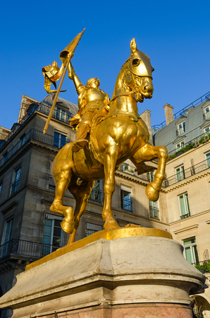 PARIS, FRANCE - SEPTEMBER 7, 2018: Gilded statue of Joan of Arc on Place des Pyramides, Paris, France