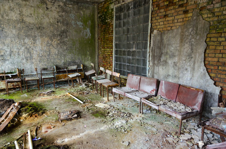 Ruin of hall in hospital No. 126, abandoned ghost town Pripyat in exclusion zone of Chernobyl nuclear power plant, Ukraine