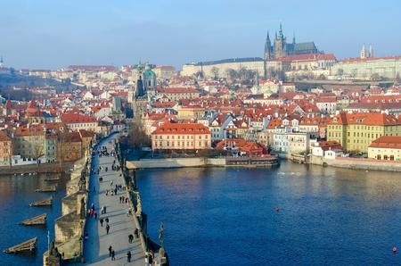 PRAGUE, CZECH REPUBLIC - JANUARY 23, 2019: Beautiful top view of Charles Bridge, Vltava River Embankment, Kampa Island, Prague Castle, Prague, Czech Republic