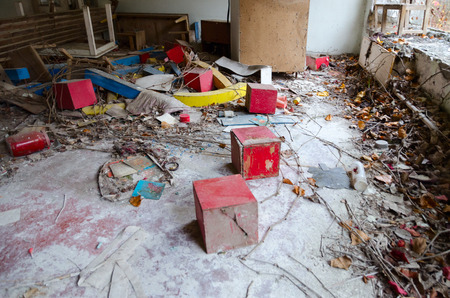 Devastation in abandoned kindergarten, dead ghost town of Pripyat, Chernobyl NPP exclusion zone, Ukraine