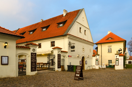 PRAGUE, CZECH REPUBLIC - JANUARY 22, 2019: Famous Strahov monastery brewery and beer restaurant