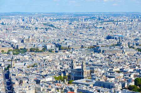 Scenic view from above (from Montparnasse Tower) on Paris, France