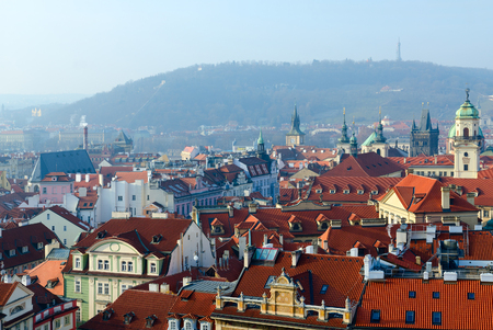 Beautiful top view of historical center of Prague (Stare Mesto) and Petrshin Hill, Czech Republic