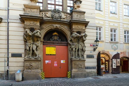 PRAGUE, CZECH REPUBLIC - JANUARY 21, 2019: Atlantes of Clam-Gallas Palace (Clam-Gallasuv palac, now - city archive), Prague, Czech Republic