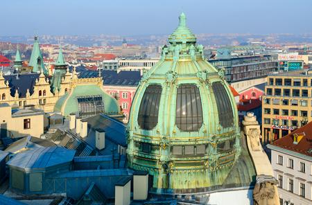 PRAGUE, CZECH REPUBLIC - JANUARY 23, 2019: View from Powder Tower to historical center of Prague, Czech Republic. Municipal House