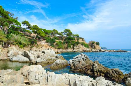 Scenic view of rocky coast in popular resort town of Lloret de Mar, Costa Brava, Spain