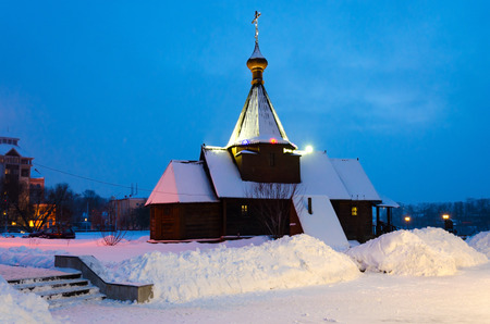 Church of Holy Prince Alexander Nevsky, evening winter landscape, Vitebsk, Belarus