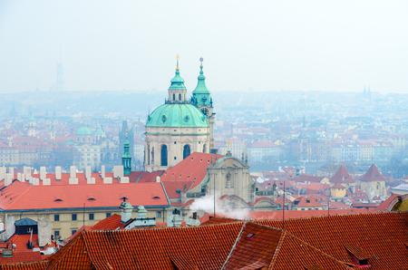 Beautiful top view of historical center of Prague, Church of St. Nicholas, Czech Republic