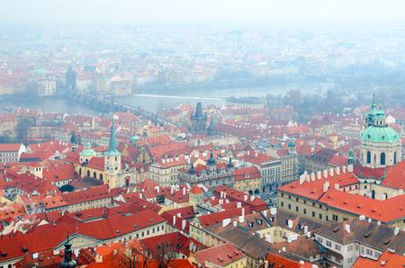 Beautiful top view of historical center of Prague and Vltava River, Czech Republic