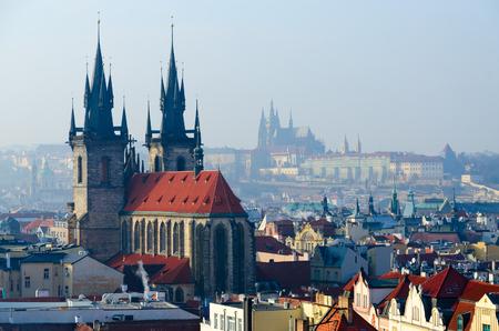 Beautiful top view (from Powder Tower) on historical center of Prague (Stare Mesto), Tyn Church, Czech Republic