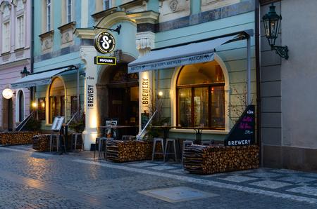 PRAGUE, CZECH REPUBLIC - JANUARY 21, 2019: Traditional Czech beerhouse (Brewer U Supa) on Celetna street in historical center of city, Prague, Czech Republic