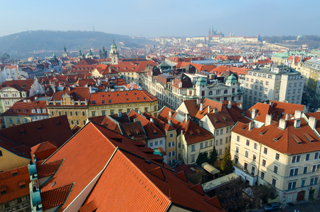 PRAGUE, CZECH REPUBLIC - JANUARY 23, 2019: Beautiful top view of historical center of Prague, New Town Hall, Czech Republic