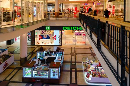 PRAGUE, CZECH REPUBLIC - JANUARY 25, 2019: Interior of largest shopping center Palladium on Republic Square, Prague, Czech Republic