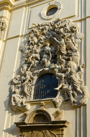Architectural details of Church of St. Jakub, Prague, Czech Republic