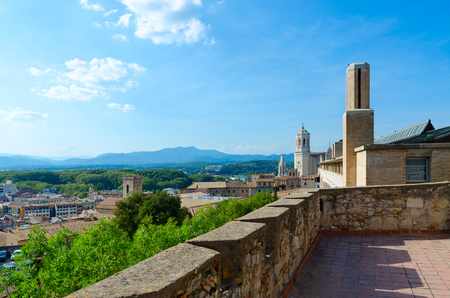 Beautiful top view of historic center of Girona and Cathedral, Spain 版權商用圖片