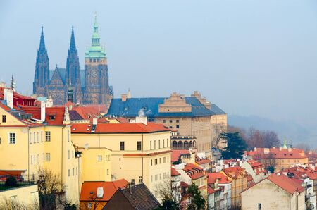 Beautiful view of Prague Castle in sunset light from observation deck at Strahov Monastery, Prague, Czech Republic Stock Photo - 131988342