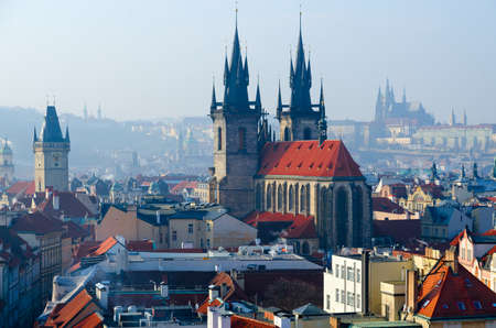 Beautiful view from above (from Powder Tower) on historical center of Prague (Stare Mesto), Tyn Church, Czech Republic Reklamní fotografie