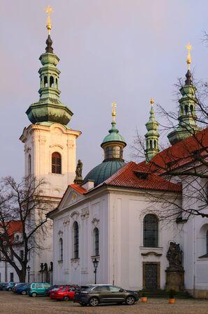 PRAGUE, CZECH REPUBLIC - JANUARY 22, 2019: Strahov Monastery in Hradcany, Prague, Czech Republic. Basilica of Assumption of Virgin Mary