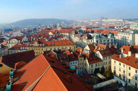 Beautiful top view of historical center of Prague, building of New Town Hall, Czech Republic