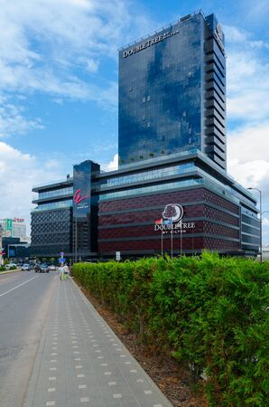 MINSK, BELARUS - AUGUST 12, 2019: DoubleTree by Hilton Hotel Minsk, view from Dimitrova street, Minsk, Belarus