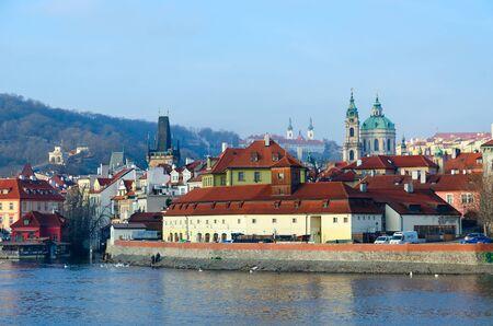 PRAGUE, CZECH REPUBLIC - JANUARY 23, 2019: Beautiful view of Vltava River Embankment, Kampa Island in Prague, Czech Republic Editorial