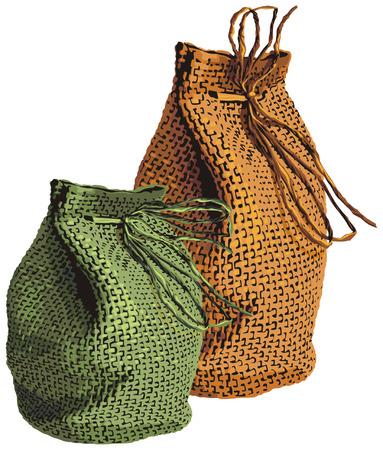 illustration vectorielle de sacs en osier Illustration