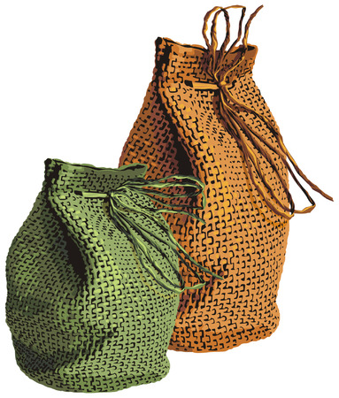 vector illustration of  wicker sacks Illustration