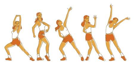 illustration vectorielle de filles exercices