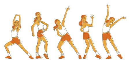 vector illustration of girls making exercises Illustration