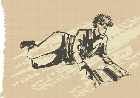 fille de lecture en s'appuyant sur le bloc-notes page, illustration vectorielle Illustration