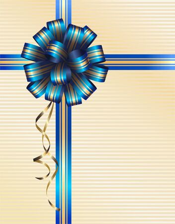 vector illustration of blue bow with gold stripes
