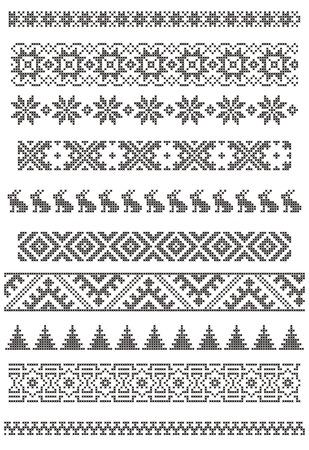 一連の境界線、ベクトル イラスト クロス刺繍