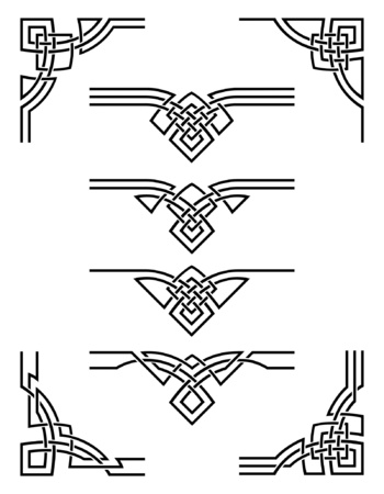 celtic background: set of decorative elements for design