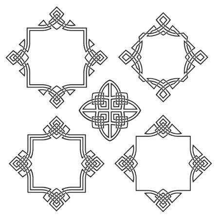設計のための 4 つの装飾的なフレーム  イラスト・ベクター素材