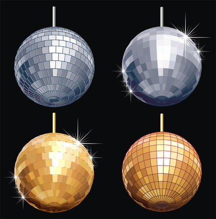 Vector disco-ball set isolated Vector