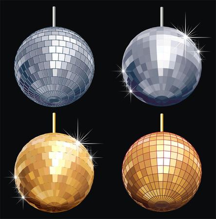 Vector disco-ball set isolated