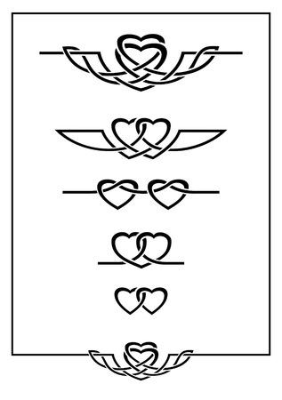 一連の 2 つの心とデザイン要素