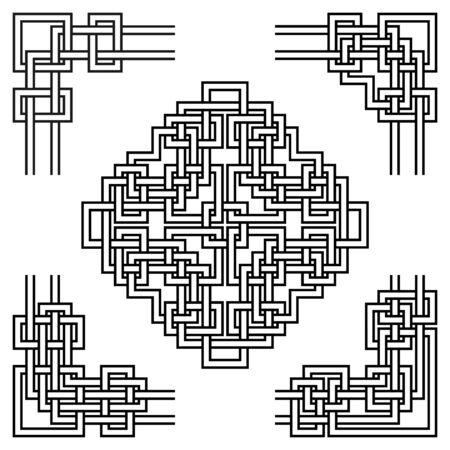 幾何学的な装飾が施されたコーナーのセット