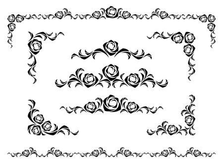 set of design elements with roses Vector