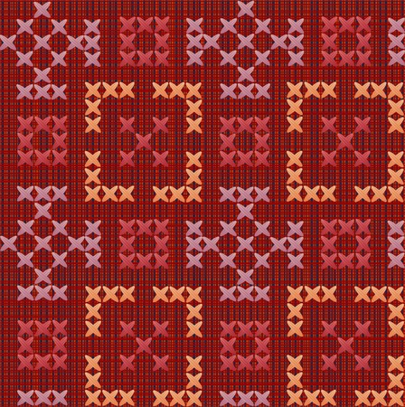 fragment of a textile embroidered by colour threads Illustration